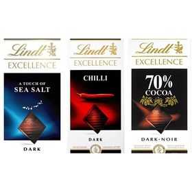 Combo of Lindt Excellence (Chilli + 70% Cocoa + Sea Salt Touch) Chocolate
