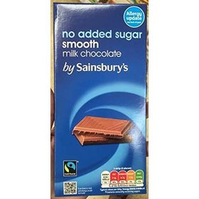 Sainsbury's Milk Chocolate No Added Sugar Bar, 100g