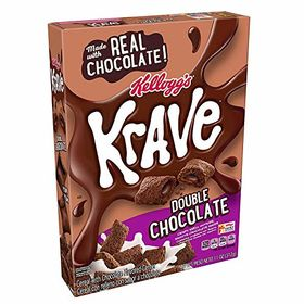 Kellogg's Krave Breakfast Cereal, Double Chocolate, Good Source of Fiber, 11 oz Box