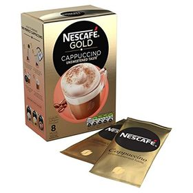 NESCAFE GOLD Cappuccino Unsweetened Coffee, 8 Sachets