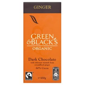 Green & Blacks Organic Ginger Dark Chocolate 60% Cocoa, 100g