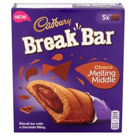 Cadbury Break Bar Choco Melting Middles Chocolate Filling Biscuit, 5 X 26g, 130g