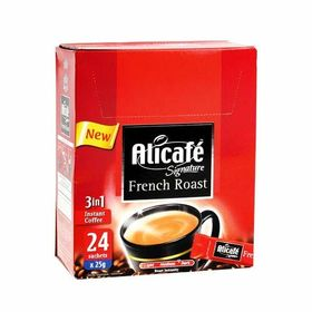 Alicafe Signature French Roast 3 in 1 Medium Dark Intensity Instant Coffee Box ( 24 X 25g ), 600g
