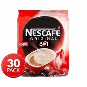 Nescafe 3 in 1 Original Soluble Coffee Beverage, 30 Sachets Bag
