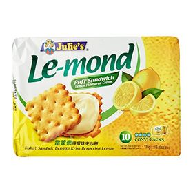 Julie's Lemon Flavoured Cream Puff Sandwich Biscuit, 170g