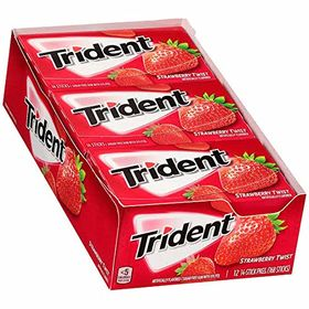 Trident Sugar-Free Gum Strawberry Flavour, 14 Sticks (Pack of 12)
