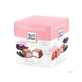 Ritter Sports Chocolate Choco Cube Box (Strawberry & Johannisbeer Joghurt Cubes), 176g