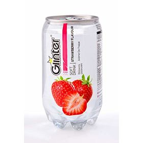 Glinter Strawberry Flavoured Sparkling Soft Drink 350ml (Pack of 6 Cans)