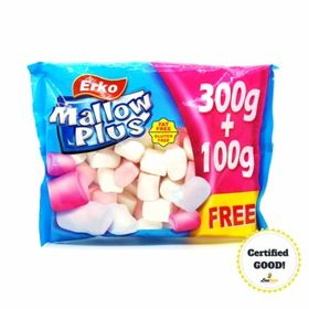 Erko Mallow Plus Jumbo BBQ Marshmallow Gluten & Fat Free(Halal), 400g