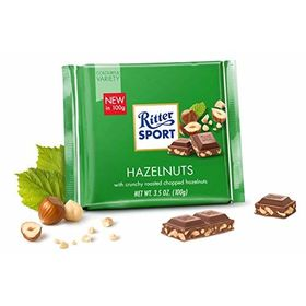 Ritter Sport Hazelnuts with Crunchy Roasted Chopped Hazelnuts, 100g Free Silver Plated Coin