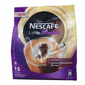 Nestle Nescafe 3 in 1 Mocha Coffee Latte - Instant Coffee Packets - Single Serve Flavored Coffee Mix (15 Sticks)