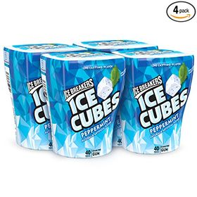 ICE BREAKERS ICE CUBES Chewing Gum, Peppermint, Sugar Free, 40 Piece Cube Pack Container (Count of 4)