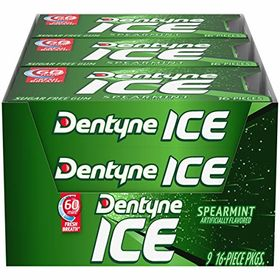 Spearmint 9-Pack Dentyne Ice Sugar- Gum Spearmint 16 Piece Pack of 9
