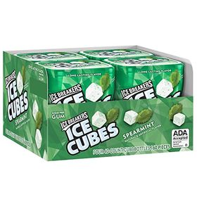 Ice Breakers Ice Cubes Sugar-free Gum (Spearmint, 40 Counts) -Pack of 4