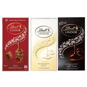 Lindt Lindor Combo of 3 Irresistibly Smooth Chocolates (White + Milk + Extra Dark) , 100gm