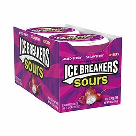 ICE BREAKERS Sours Mints, (Mixed Berry, Strawberry, Cherry), Sugar Free, 1.5 Ounce Container (Count of 8)