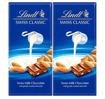 Lindt Swiss Classic Bar Chocolate, Almond, 100g (Pack of 2)
