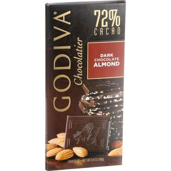 Godiva 72% Cacao Milk Chocolate with Almond Tablet 100g