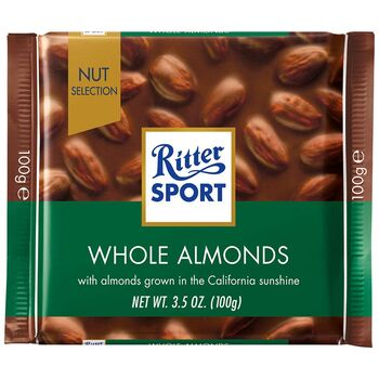 Ritter Sport Milk Chocolate with Whole Almonds, 100 g