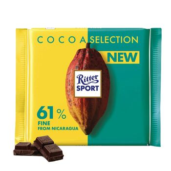 Ritter Sport Cocoa Selection Fine Dark Chocolate with 61% Fine from Nicaragua , 100 g