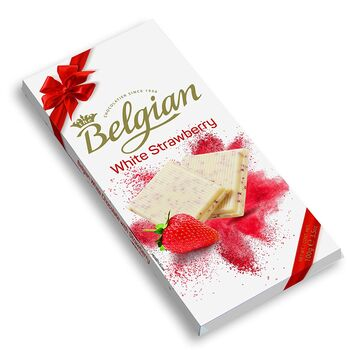 The Belgian White Strawberry Chocolate Bar, 100g
