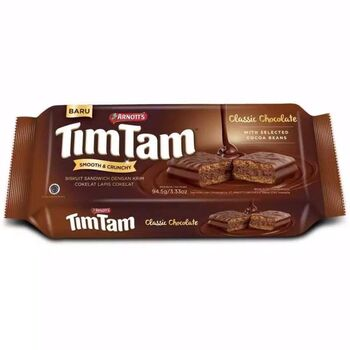 Arnott's Tim Tam Classic Clocolate Flavoured Biscuits 10 Single Packet Box 135g