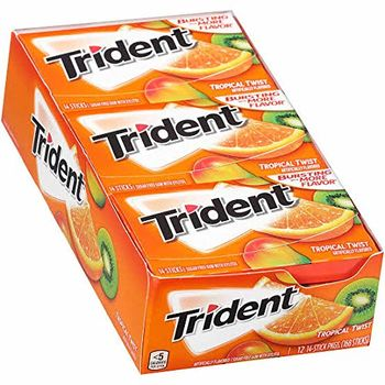 Trident Tropical Twist Sugar Free Mint, 14 Sticks - Pack of 12