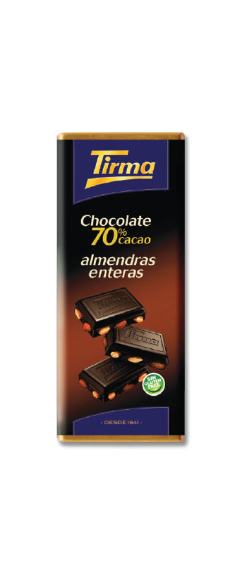 Tirma Made in Spain Dark Chocolate 70% Cocoa with Whole Almonds 115g